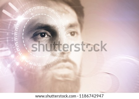 Portrait of young man with dark hair and beard looking forward. Gui and hud immersive interfaces over brown background. Hi tech concept. Toned image double exposure copy space #1186742947
