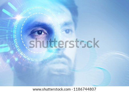 Portrait of young man with dark hair and beard looking forward. Gui and hud immersive interfaces over brown background. Hi tech concept. Toned image double exposure copy space film effect #1186744807