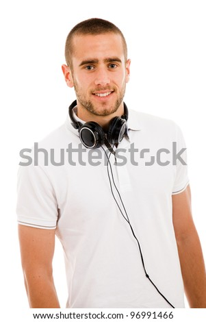 portrait of young man with headphones against a white background - stock photo