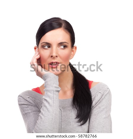Portrait of young nervous woman - isolated on white background