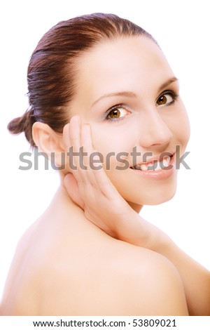 stock photo : Portrait of young nude woman, on white background.