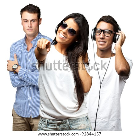 portrait of young people having a party over white background