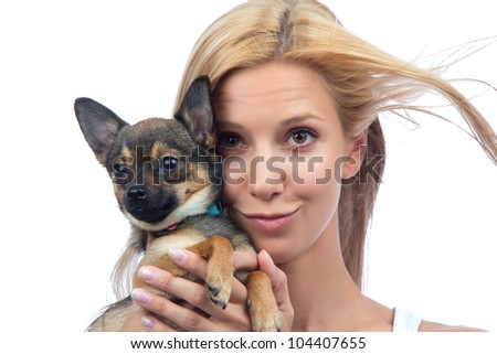 Portrait of young pretty woman hold small Chihuahua puppy dog isolated on a white background