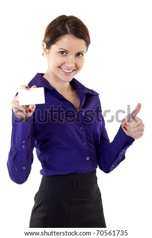 Portrait of young pretty woman holding blank business card giving thumbs up isolated on white background - stock photo