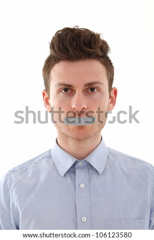Portrait of young red hair man censored