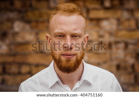 portrait of young red hair man with beard horizontal #404751160