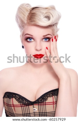 Portrait of young sexy beautiful blond girl in stylish corset, on white background