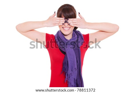 portrait of young smiley woman with closed eyes by hands. isolated on white background