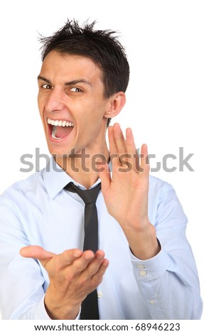 portrait of young smiling and clapping business man. isolated over a white background - stock photo