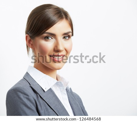Portrait of young  smiling  business woman, isolated on white background #126484568