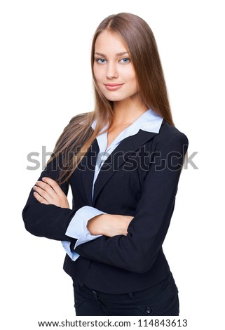 Portrait of young smiling businesswoman standing with hands folded against isolated on white background