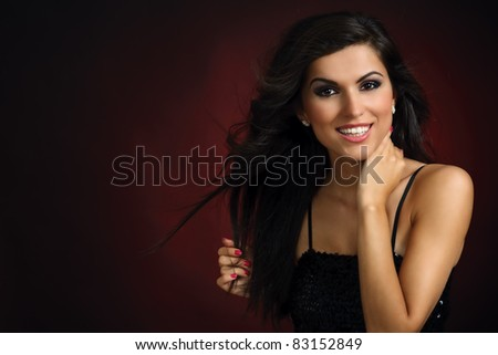 Portrait of young smiling party girl