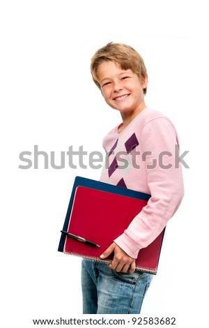 Portrait of young smiling student holding notebooks isolated on white background - stock photo