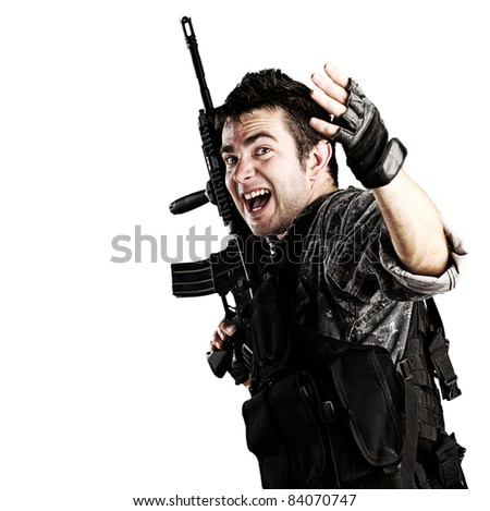 portrait of young soldier telling that follow him against white background - stock photo