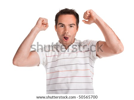 Portrait of young surprised man gesturing. Isolated on white.
