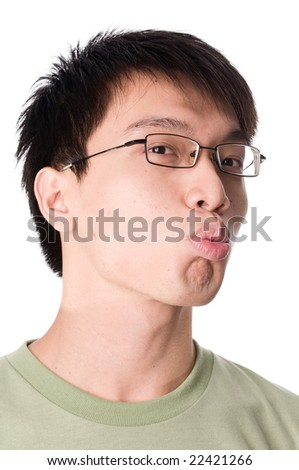 portrait of young teenager male giving kiss