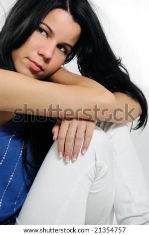 Portrait of young trendy hispanic female fashion model