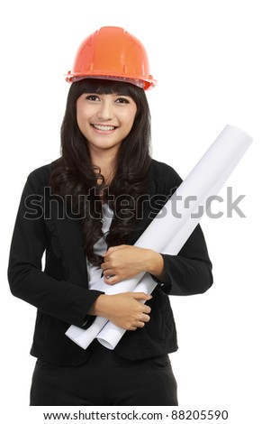 Portrait of Young woman architect with orange hard hat and paper with isolated background