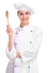 Portrait of young woman chef isolated on white