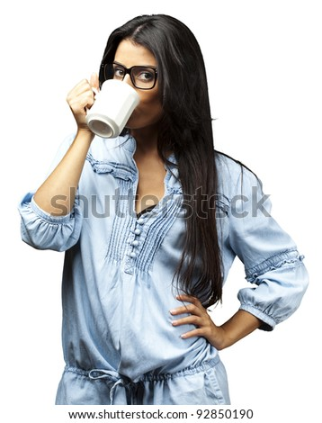 portrait of young woman drinking coffee against a white background