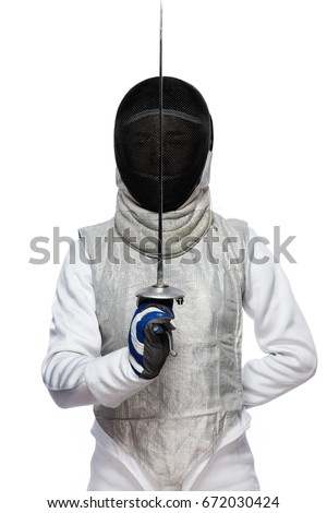 Portrait of Young woman fencer wearing mask and white fencing costume and holding the sword in front of her. Isolated on White Background