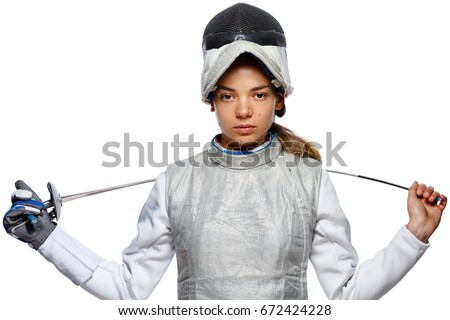 Portrait of Young woman fencer wearing mask and white fencing costume. Isolated on White Background