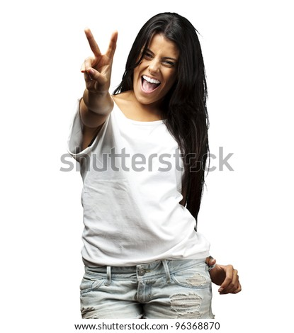 portrait of young woman gesturing good against a white background