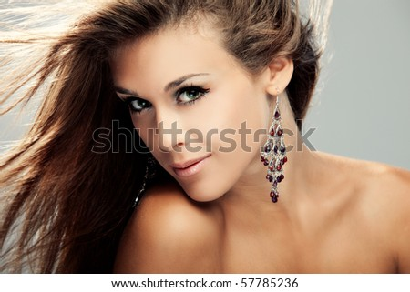 portrait of young woman, hair fly