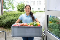 Portrait Of Young Woman Holding Grocery Basket Outside The House
