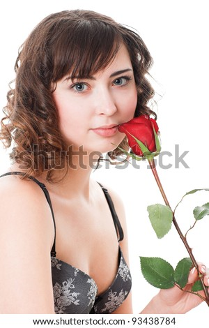 Portrait of young woman holding rose isolated on white