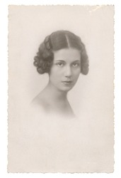 Portrait of young woman in 1934