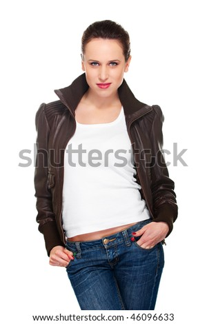 portrait of young woman in brown jacket and jeans. isolated on white