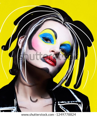 Portrait of young woman in comic comic pop art make-up style. Female on background