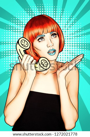 Portrait of young woman in comic pop art make-up style. Female in red wig on cyan cartoon background calls by phone.