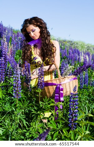 Portrait of young woman in plant of violet wild lupine picking up flowers