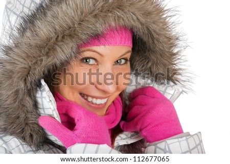 portrait of young woman in winter coat