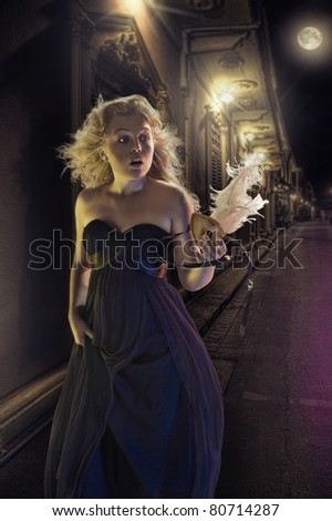 portrait of young woman  on color back - stock photo