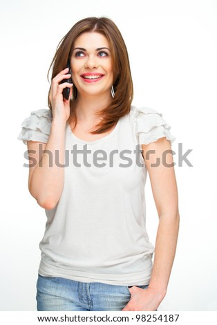 Portrait of young woman on phone call over white background