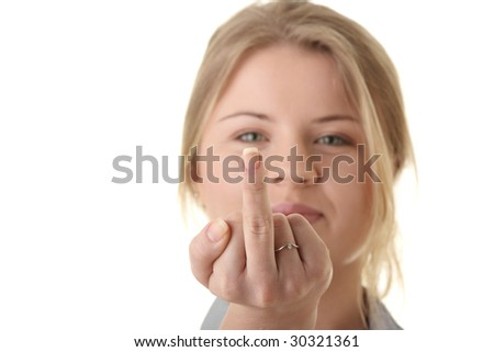 Portrait of young woman (student or businesswoman) middle finger up isolated on white background
