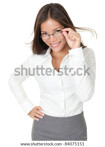 Portrait of young woman wearing glasses. Isolated on white background.