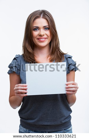 Portrait of young woman with blank white board on white background isolated