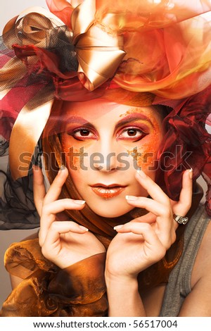 Portrait of young woman with creative make-up in doll style #56517004