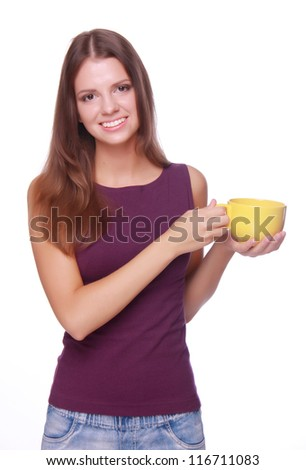 Portrait of young woman with cup of aroma tea over white background/Young person with tea cup