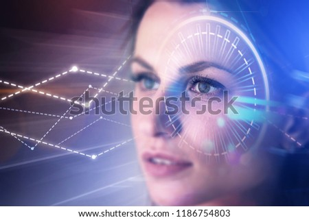 Portrait of young woman with dark hair looking forward. Gui and hud immersive interfaces and graphs over blurred background. Fintech concept. Toned image double exposure copy space #1186754803