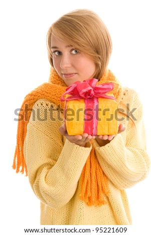 Portrait of young woman with gift