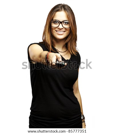 portrait of young woman with glasses changing channel over white background