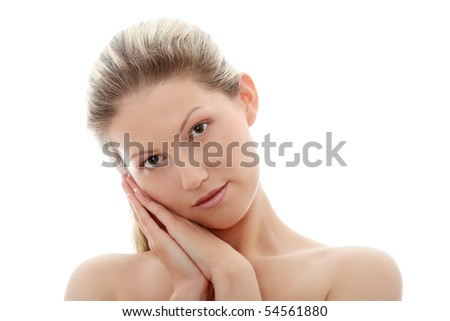 Portrait of young woman without a make-up, isolated on white background - stock photo