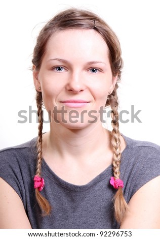 portrait of young woman without make-up isolated on white background