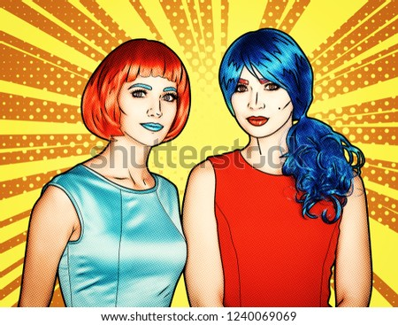 Portrait of young women in comic pop art make-up style. Females in red and blue wigs and dresses on yellow - orange cartoon background.