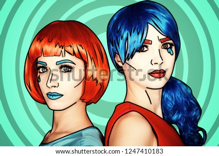 Portrait of young women in comic pop art make-up style. Females in red and blue wigs on green cartoon background.